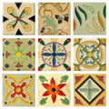 Nine Antique Flora Ceramic Brick Set Royalty Free Stock Photos - 19158808