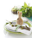 Table Setting With Easter Bunny Stock Photography - 19164902