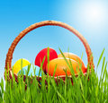 Wicker Basket With Eggs Stock Image - 19168231