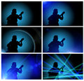Guy Playing The Guitar - Silhouette Royalty Free Stock Images - 19214289
