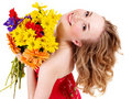 Happy Young Woman Holding Flowers. Royalty Free Stock Photography - 19219757