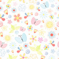 Summer Pattern Of Flowers And Butterflies Royalty Free Stock Images - 19264239