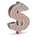 Dollar With World Flags Royalty Free Stock Images - 19319939