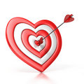 Heart Shaped Target With The Arrow In The Center Royalty Free Stock Photography - 19349807
