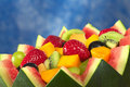 Fruit Salad In Melon Bowl Royalty Free Stock Photo - 19369325