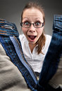 Surprised Girl Looking Inside Unzipped Pants Stock Images - 19383454