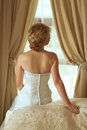 Beautiful Blond Bride In Satin Pearl Dress Royalty Free Stock Photography - 1941597