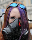 Masked Young Woman At An Anti-Cuts Protest Stock Photo - 19451210