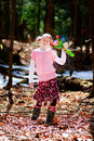 Girl Outdoors Holding Tulips Royalty Free Stock Photos - 19525598
