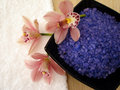 Spa Essentials (violet Salt, White Towel And Pink Orchids) Stock Photos - 1966673