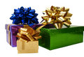 Ribbon Tied Gift Boxes Over White Background Stock Image - 1966821