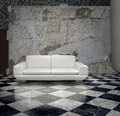 Grunge Wall White Sofa Stock Image - 19651701