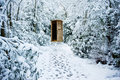 Winter Path Through Forest With Secret Door Stock Image - 19657531
