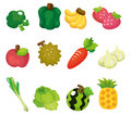 Cartoon Fruits And Vegetables Icon Set Stock Photo - 19661220