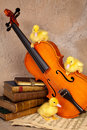 Ducklings On Classical Violin Stock Photography - 19668672