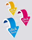 Click Here Stickers Set. Royalty Free Stock Photo - 19733735