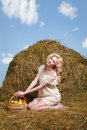 Country Girl On Hay Stock Images - 19739164