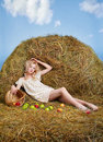 Country Girl On Hay Royalty Free Stock Photo - 19739195