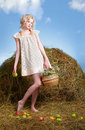 Country Girl On Hay Stock Images - 19739224