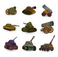 Cartoon Tank/Cannon Weapon Set Icon Stock Photography - 19775882