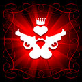 Guns, Heart And Crown Royalty Free Stock Images - 19794009