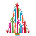Colorful Christmas Tree Of Hands Royalty Free Stock Photos - 19799778