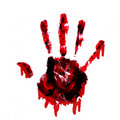 Bloody Handprint With Drips Isolated On White Back Stock Photos - 19819983