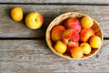 Peaches And Apricots In Basket Royalty Free Stock Photography - 19847577