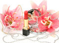 Decorative Cosmetics And Lilies Royalty Free Stock Photos - 19854628
