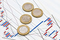 Euro Coins And  Business Graph Background Royalty Free Stock Images - 19864389