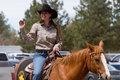 Police Woman On Horse - Sisters, Oregon Rodeo 2011 Stock Photos - 19865173