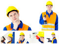 Collage Of A Young Contractor Royalty Free Stock Photo - 19886075