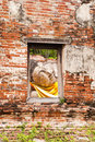 Sleeping Buddha Statue  In Window Royalty Free Stock Photography - 19911167