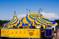 A Yellow And Blue Circus Tent. Royalty Free Stock Images - 19969109