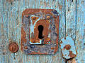 Blue Door With Keyhole Royalty Free Stock Photo - 27445