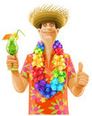 Man Cocktail Hawaii Wreath Hat Stock Images - 20001544
