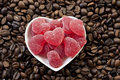 Red Heart Shaped Jelly Sweets And Coffee Beans Royalty Free Stock Images - 20041729