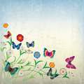 Abstract Illustration With Flowers And Butterfly Stock Photo - 20123250