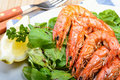 King Prawns On Lamb S Lettuce Stock Photography - 20153922