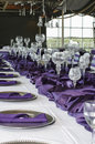 Vertical Table Setting For Wedding, Purple Stock Photography - 20191322