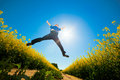 Freedom Jump On The Field Stock Images - 20226694