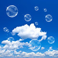 Soap Bubbles On Blue Sky Royalty Free Stock Photo - 20245315