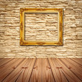 Gold Frame Hanging On Modern Brick Wall Royalty Free Stock Photo - 20298525