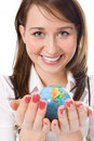 Yung Beauty Girl Hold Globe In Palm Royalty Free Stock Image - 2038806