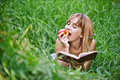 Young Woman Eating Apple Royalty Free Stock Images - 20358569
