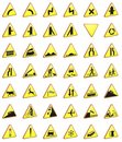 Road Signs 3d Rendering Pack (warning Signs) Royalty Free Stock Photography - 20399757