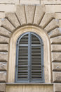 Arched Window Closed Shutters, Italy. Royalty Free Stock Photos - 2041808