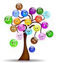 Nice Tree With Colorful Smilies With Different Exp Royalty Free Stock Photos - 20406308