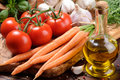 Fresh Tomatoes, Carrot And Olive Oil Royalty Free Stock Photos - 20435098