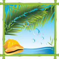 Bamboo Frame With Shell And Palm Branches Stock Photo - 20473520